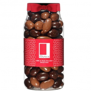 Milk and Plain Chocolate Coated Brazil Nuts in a Gourmet Gift Jar