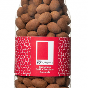 Cinnamon Dusted Milk Chocolate Coated Almonds in a Gourmet Gift Jar