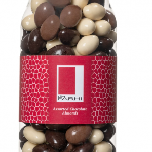 Assorted Chocolate Coated Almonds in a Gourmet Gift Jar