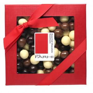 Assorted Chocolate Coated Hazelnuts in a Gift Box