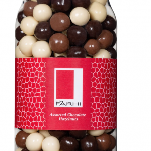 Assorted Chocolate Coated Hazelnuts in a Gourmet Gift Jar