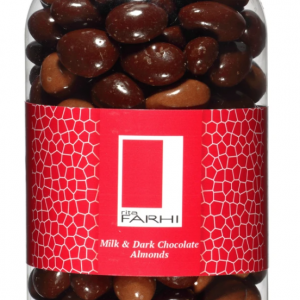 Milk and Dark Chocolate Coated Almonds in a Gourmet Gift Jar