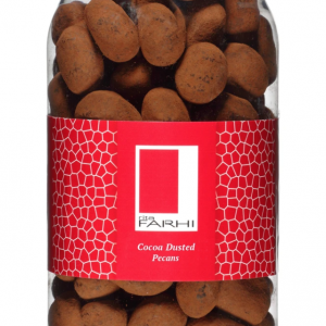 Cocoa Dusted Belgian Milk Chocolate Pecans in a Gourmet Gift Jar