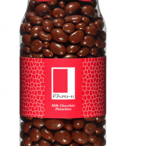 Belgian Milk Chocolate Coated Pistachios in a Gourmet Gift Jar