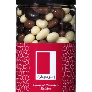 Assorted Chocolate Coated Raisins in a Gift Jar
