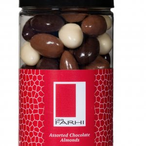 Assorted Chocolate Coated Almonds in a Gift Jar