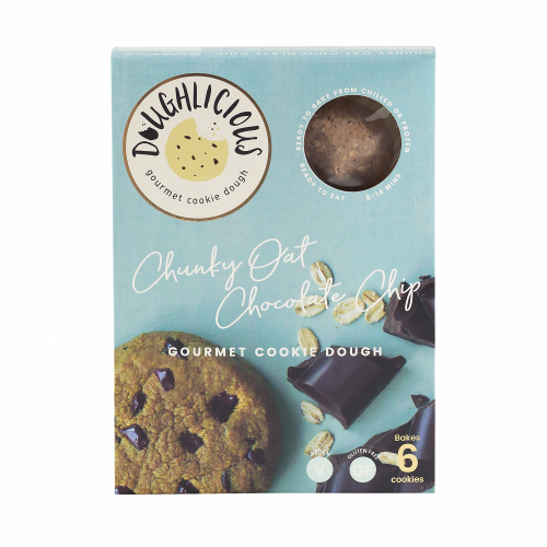 Doughlicious - Chunky Oat Chocolate Chip (ready-to-bake gluten-free gourmet cookie dough) Vegan