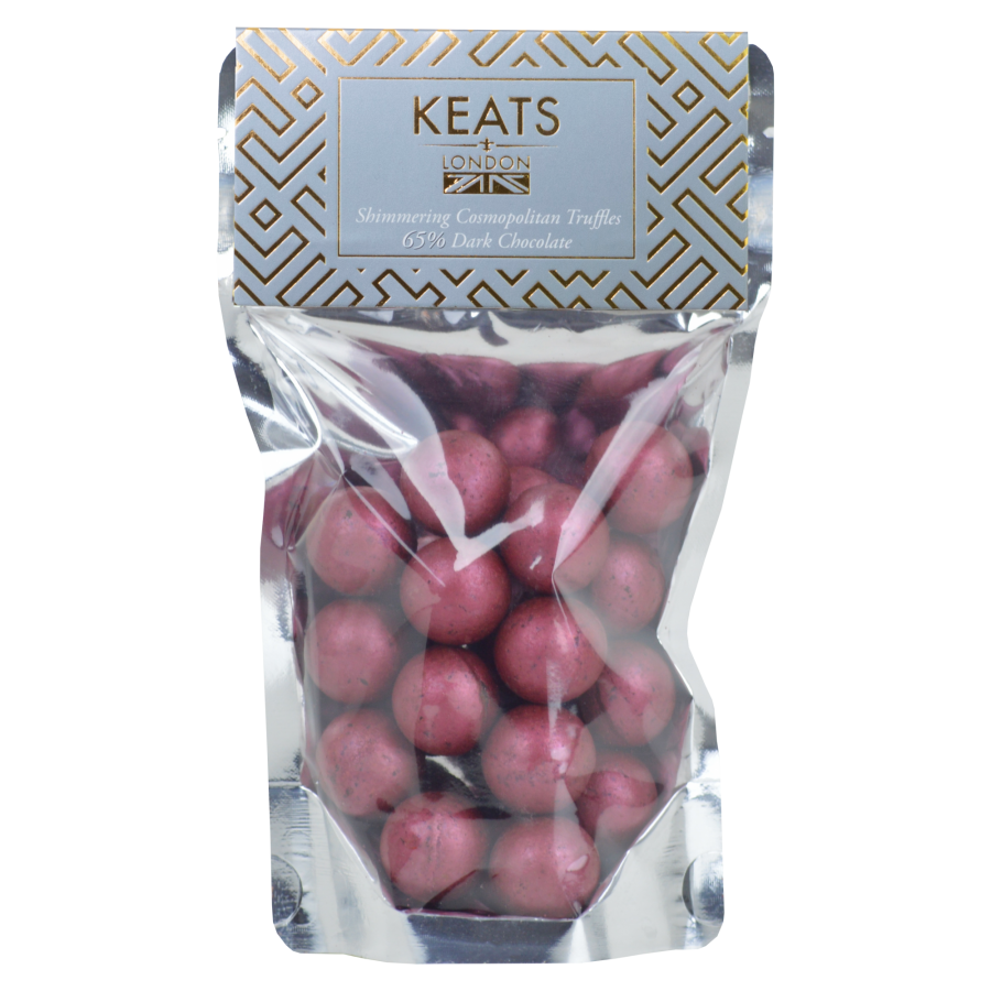 Keats Shimmering Dark Chocolate  Mini Truffles  with Cosmopolitan Flavoured 140g