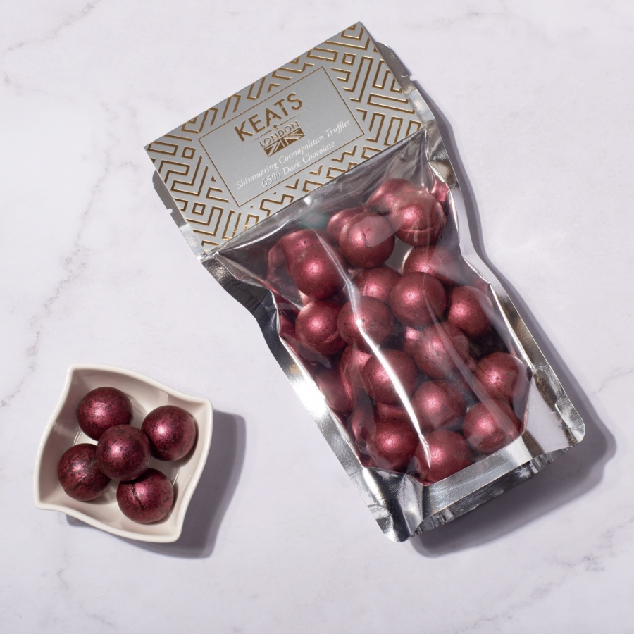 Keats Shimmering Dark Chocolate  Mini Truffles  with Cosmopolitan Flavoured 140g